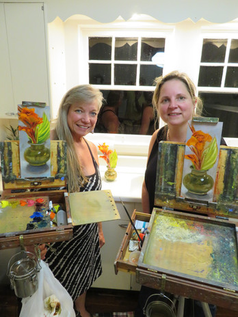 Jan Jewell painting with her cousin Elsa