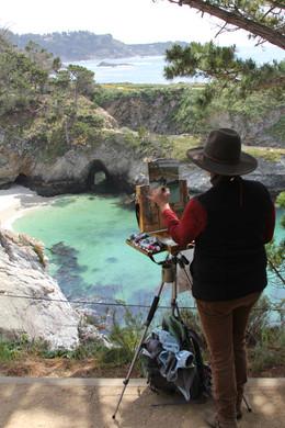 Jan Jewell painting at China Cove