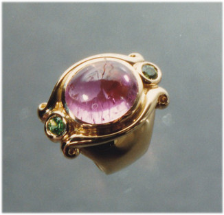 Pink Tourmaline and Tsavorite Ring