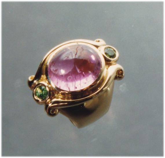 Pink Tourmaline and Tsavorite Ring