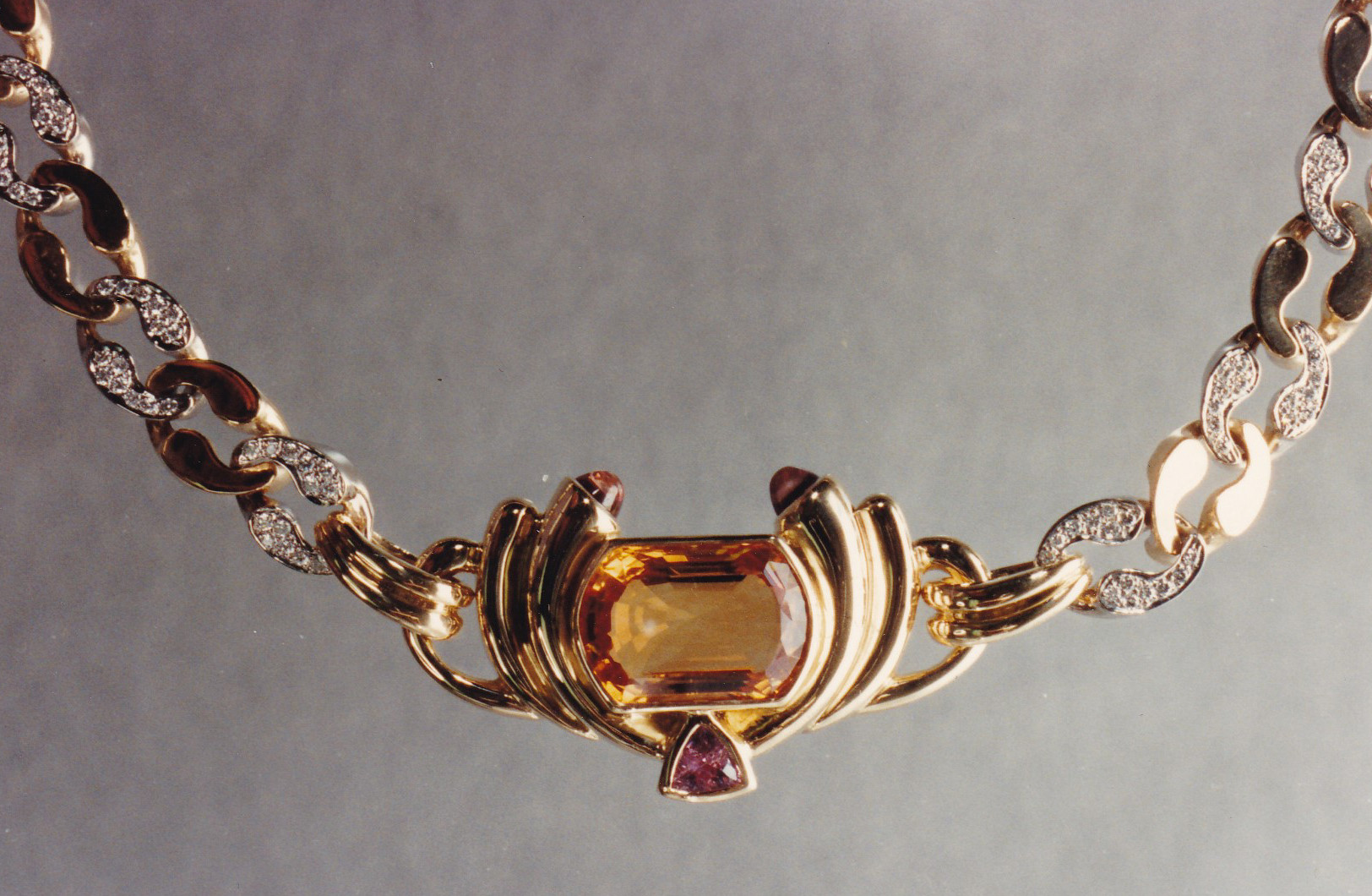 Golden Topaz, Pink Sapphire and Diamond Necklace