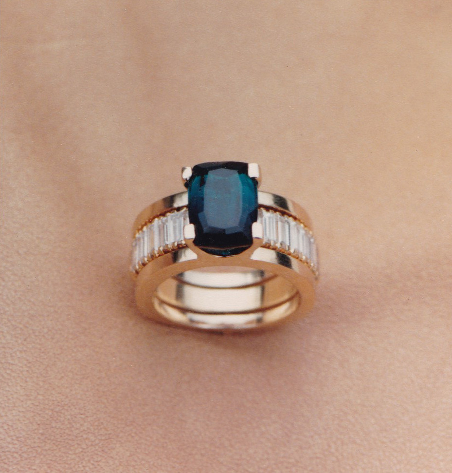 Indicolite Tourmaline and Diamond Ring