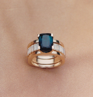 Indicolite Tourmaline and Diamond Ring