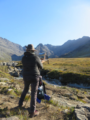 Jan Jewell painting at the Fairy Pools o