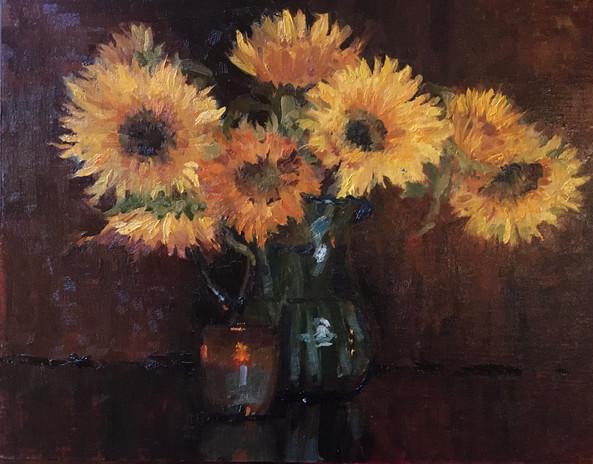 Sunflowers in Turquoise Vase