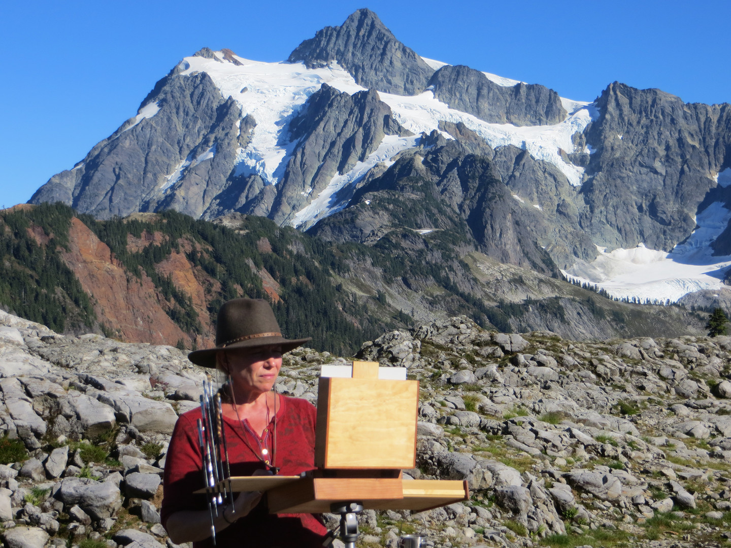 Jan Jewell painting at Mt. Baker