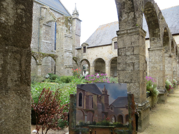 Jan Jewell painting in Lehon, France