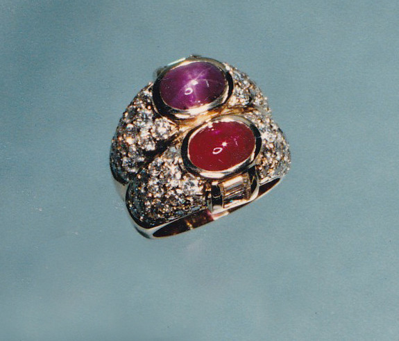 Pink Star Sapphire and Ruby and Diamond Ring