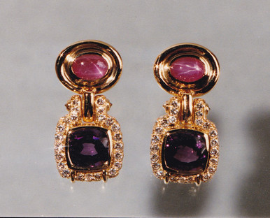 Amethyst, Pink Star Sapphire and Diamond Earrings