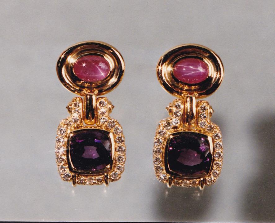 Amethyst, Pink Star Sapphire and Diamond Earrings