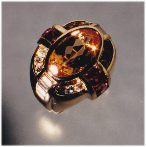 Golden Topas, Pink Sapphire and Diamond Ring