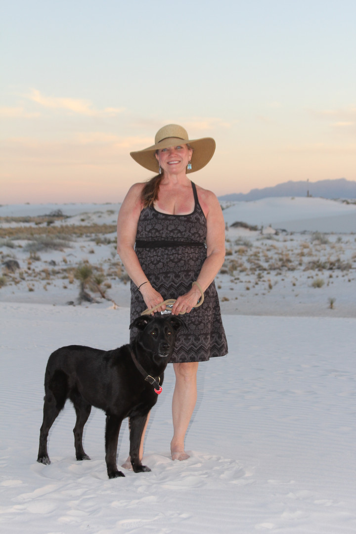 Jan Jewell and Sadie at the White Sands