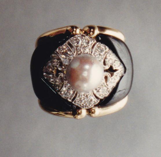 Pearl, Diamond and Black Jade Ring