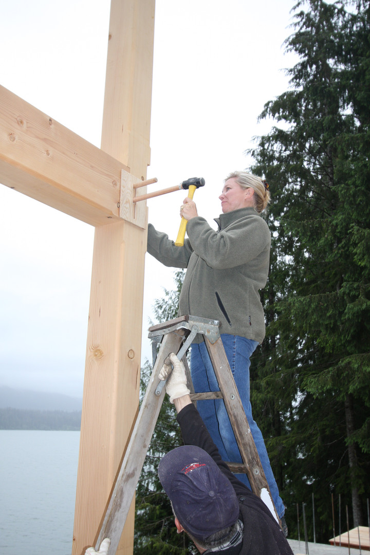 Jan Jewell hammering the first peg
