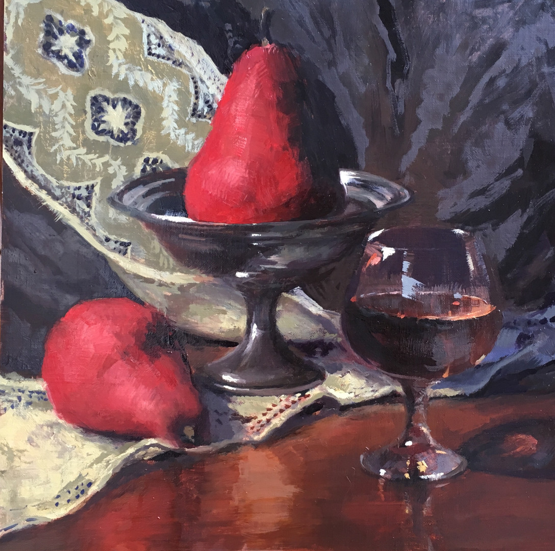 Red Pears with Lace