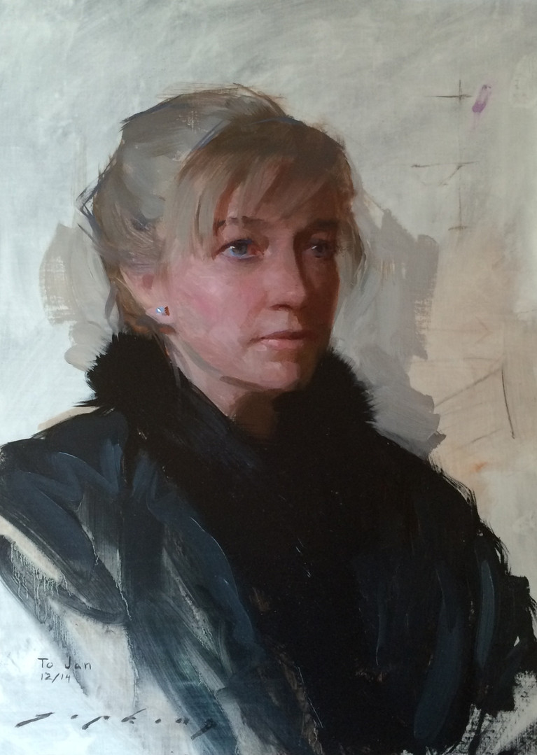 Painting of Jan Jewell by Jeremy Lipking