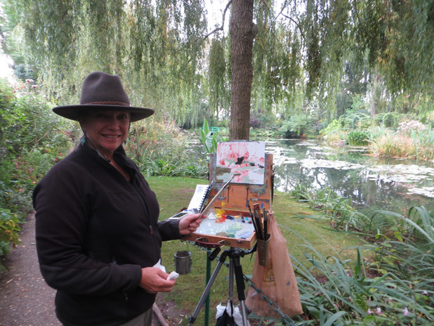 Jan Jewell painting at Monet's home in G