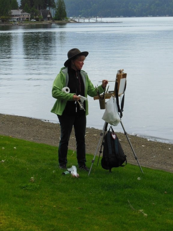 Jan Jewell painting at Deception Pass