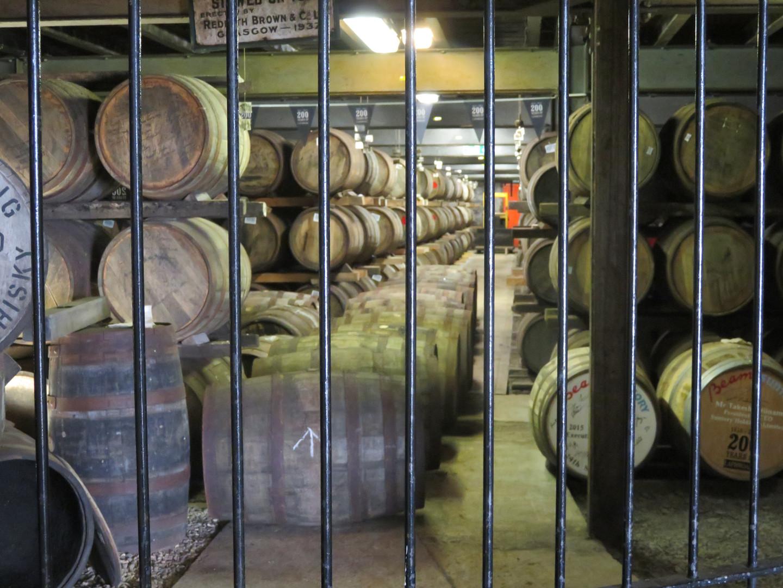 Barrels of Whiskey under Lock and Key