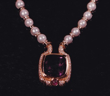 Amethyst Intaglio, Pink Star Sapphire, Diamond and Pearl Necklace