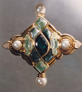 Carved Tourmalines Broach