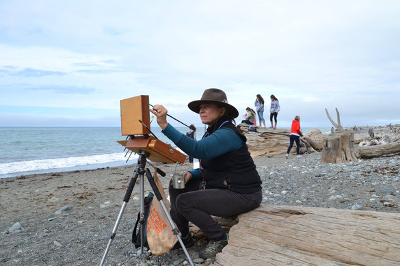 Jan Jewell painting at Sequim