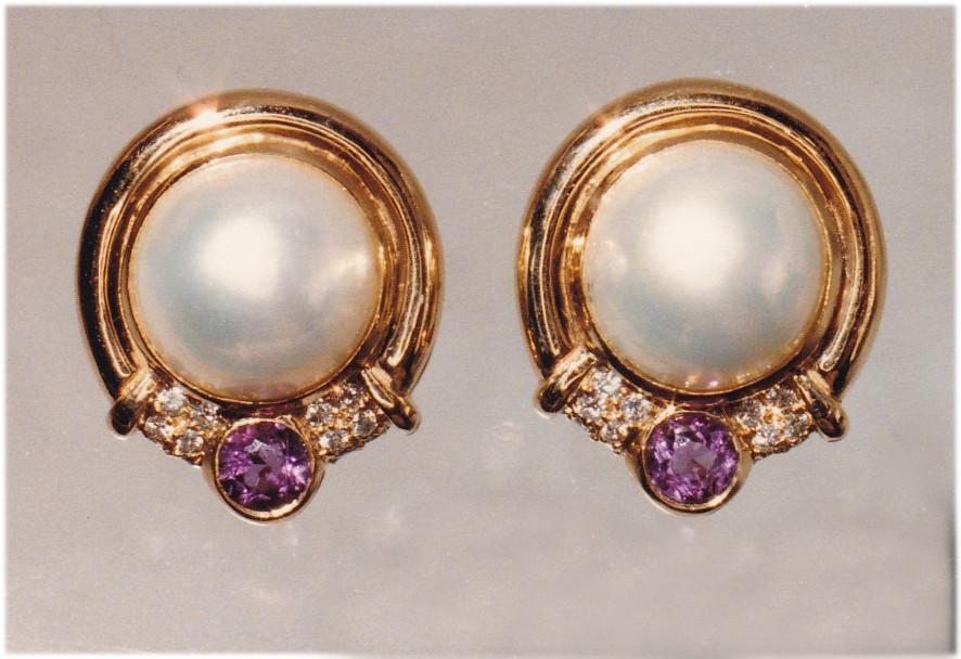 Pearl, Amethyst and Diamond Earrings
