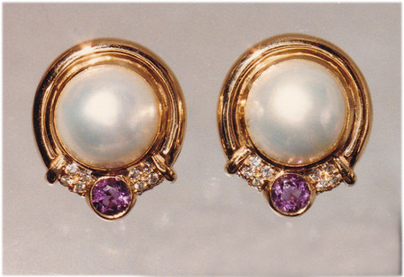 Pearl, Amethyst and Diamond Earrings