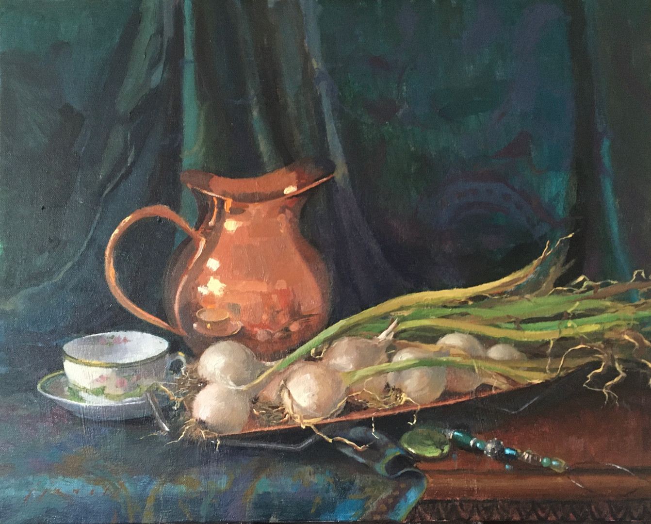 Onions and Copper Pitcher