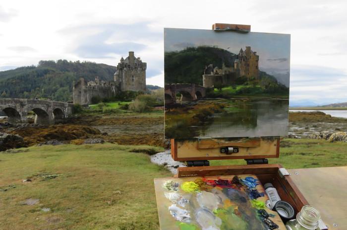 Jan Jewell Painting Eileen Donan Castle,
