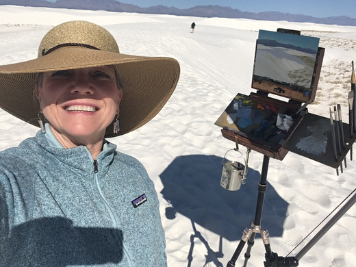 Jan Jewell painting at the White Sands of New Mexico