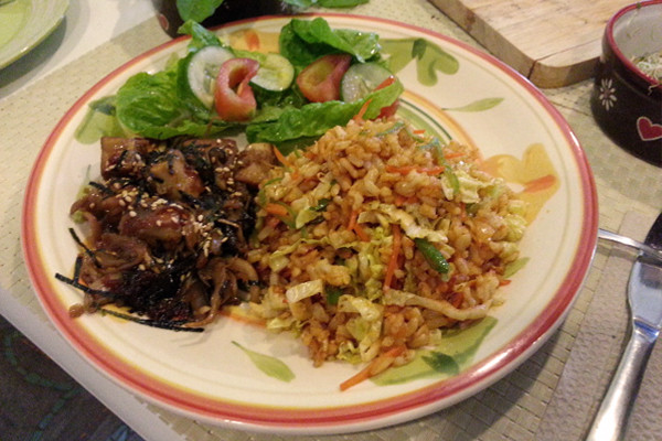 Edgy Veggy Tofu Mushroom Bulgogi and Spicy Bibimbap Rice