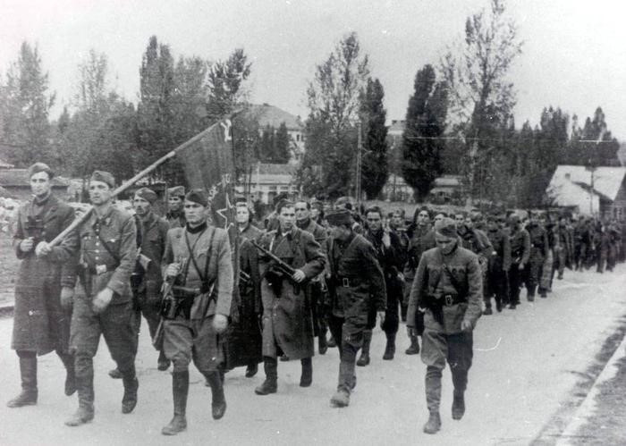 Soviet soldiers and partisans of Yugoslavia  liberated Croatian