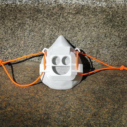 Smiley-Maske weiß / orange
