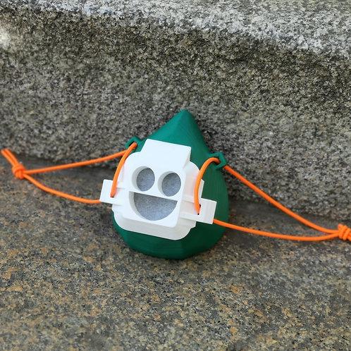 Smiley-Maske grün / weiss / orange