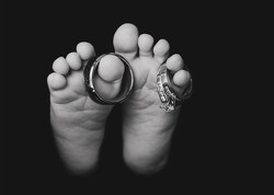 Baby - Feet with Rings B&W 8x10