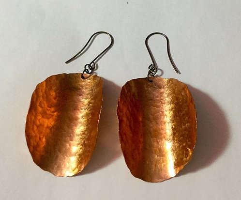 Hammered and Flame Painted Large Copper Earrings