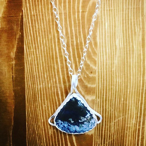 Gorgeous Moss Agate and Sterling Silver Pendant Necklace
