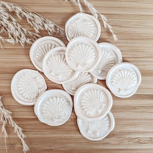 Scallop Shell Pearl Wax Seals