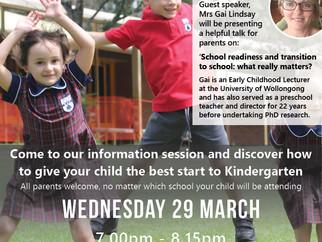 Preparing for Kindergarten Info Session - Wednesday 29 March 2017