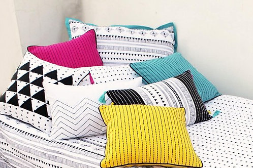 zig zag embroidered pillow case