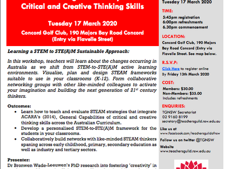 17th March: Fostering 21st Century Critical Creative Thinking Skills