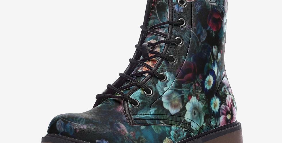 Midnight Flower Garden Leather Combat Boots