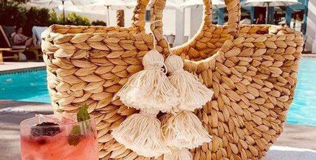 Anaya Beach Straw Bag - Creme White Tassels