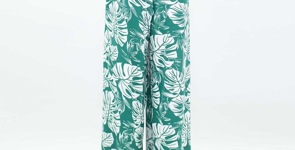 Wide Leg Green Leaf Maxi Pants