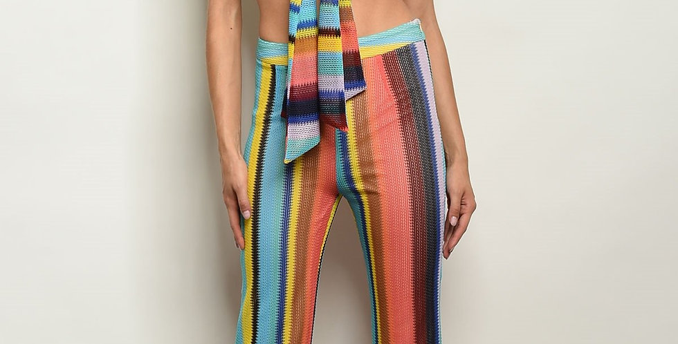 Blue Multi Stripes Top & Pants Set