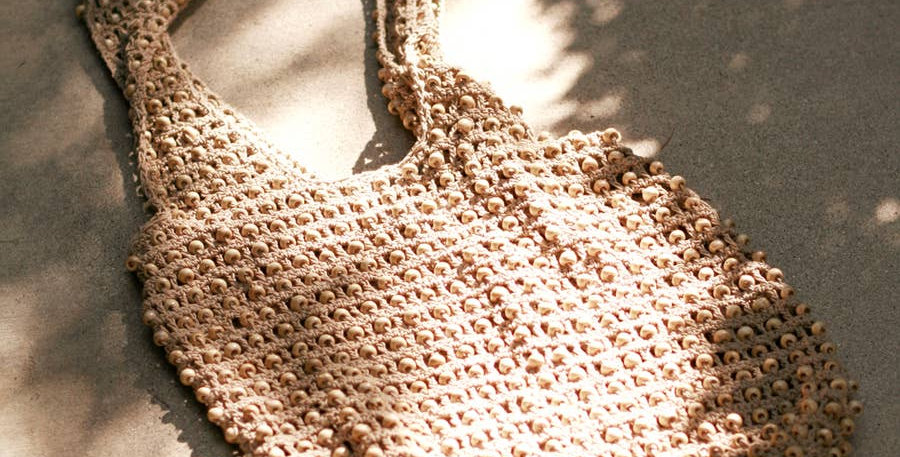 Karma Wooden Beads Bag, Crochet Bag in Tan