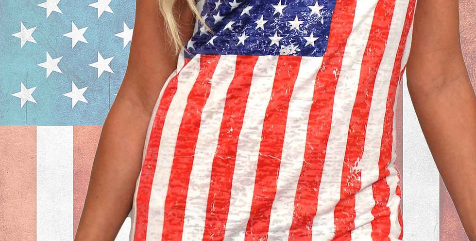 Women's USA Distressed Flag Burnout Tank Dress Cover-Up Made in the USA