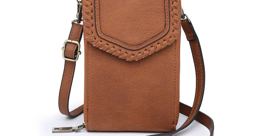RFID Whipstitch Touch Screen Crossbody