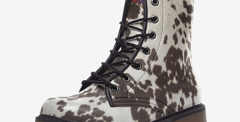Cowhide Print Leather Combat Boots